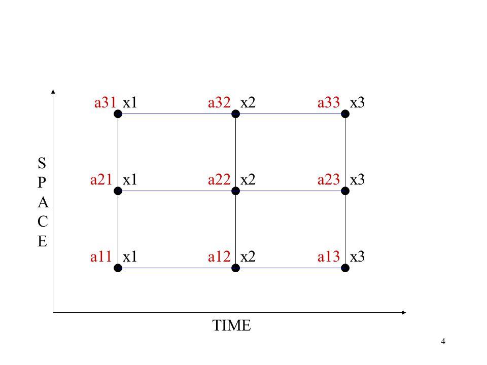 4 a31a32a33 a21a22a23 a11a12a13 x1x2x3 x1 x2 x3 TIME SPACESPACE