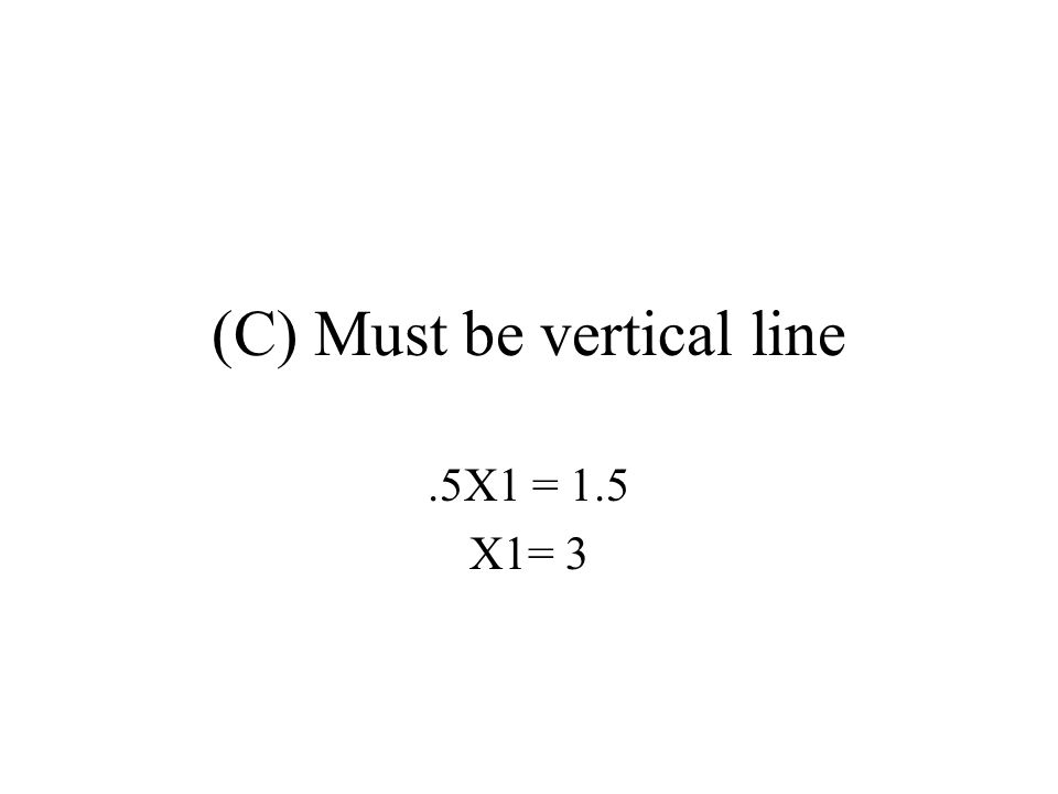 (C) Must be vertical line.5X1 = 1.5 X1= 3