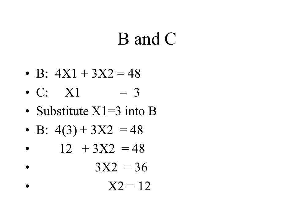 B and C B: 4X1 + 3X2 = 48 C: X1 = 3 Substitute X1=3 into B B: 4(3) + 3X2 = 48 12 + 3X2 = 48 3X2 = 36 X2 = 12