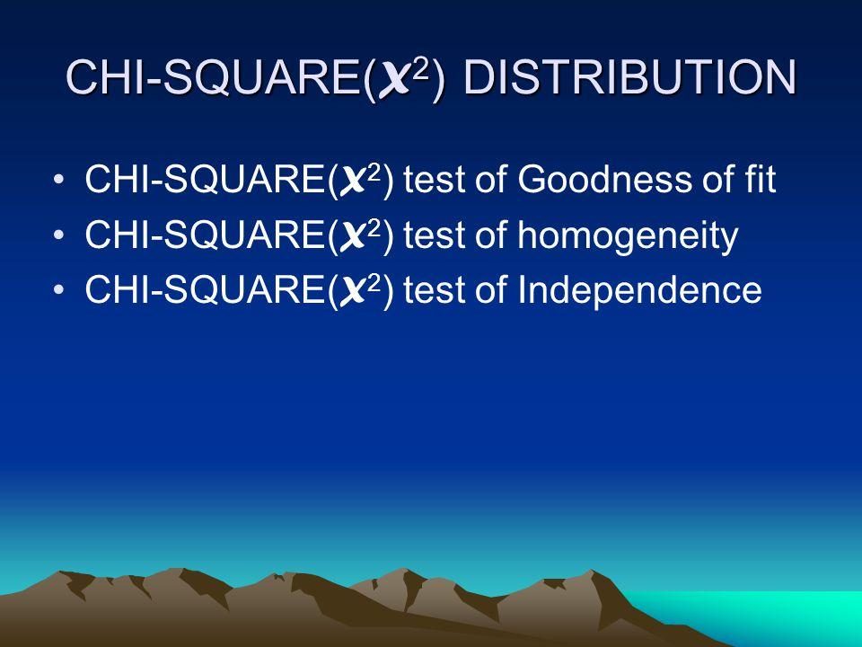 CHI-SQUARE( X 2 ) DISTRIBUTION CHI-SQUARE( X 2 ) test of Goodness of fit CHI-SQUARE( X 2 ) test of homogeneity CHI-SQUARE( X 2 ) test of Independence