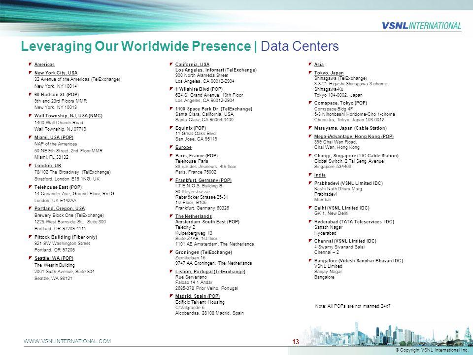 WWW.VSNLINTERNATIONAL.COM © Copyright VSNL International Inc. 13 Leveraging Our Worldwide Presence | Data Centers  Americas  New York City, USA 32 A