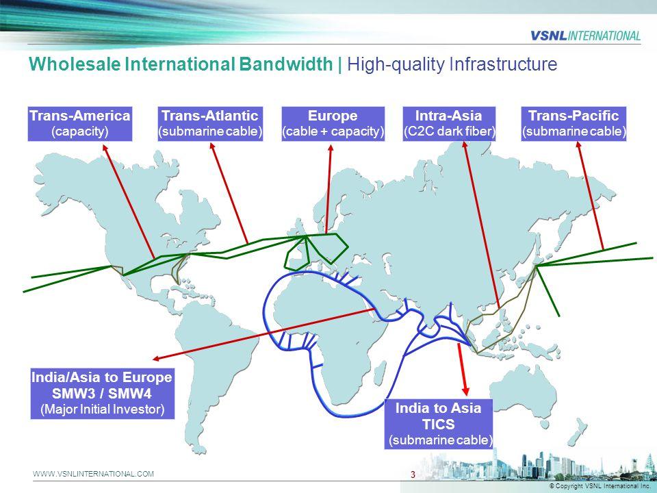 WWW.VSNLINTERNATIONAL.COM © Copyright VSNL International Inc. 3 Wholesale International Bandwidth | High-quality Infrastructure Trans-America (capacit