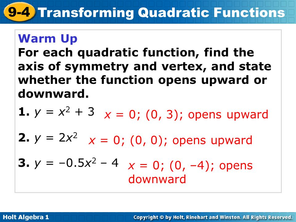 Holt Algebra 1 9-4 Transforming Quadratic Functions Students will be able to: Graph and transform quadratic functions.