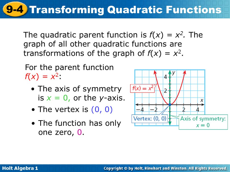 Holt Algebra 1 9-4 Transforming Quadratic Functions The quadratic parent function is f(x) = x 2. The graph of all other quadratic functions are transf