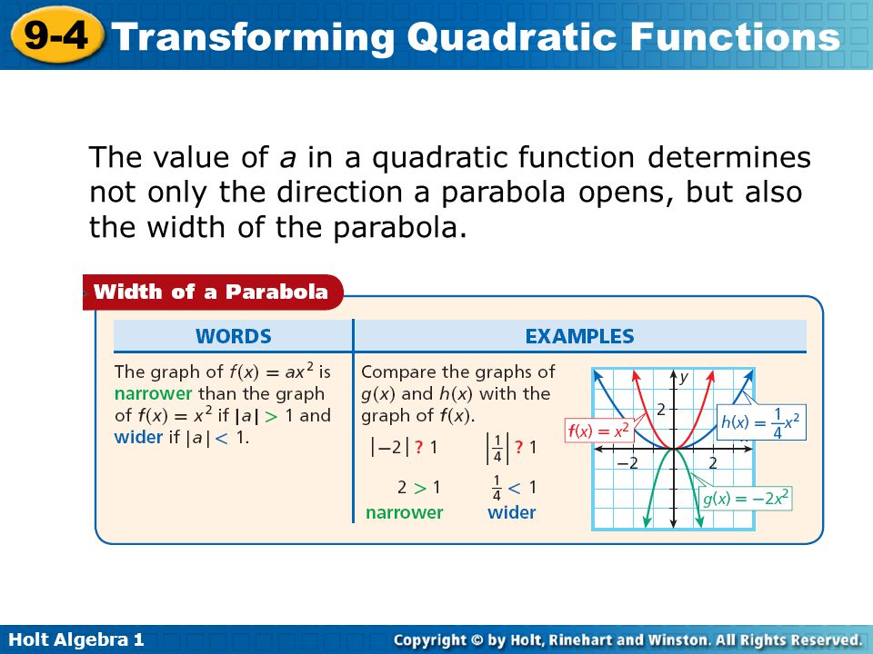 Holt Algebra 1 9-4 Transforming Quadratic Functions The value of a in a quadratic function determines not only the direction a parabola opens, but als