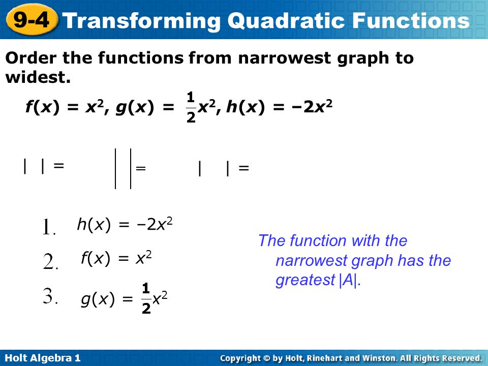 Holt Algebra 1 9-4 Transforming Quadratic Functions Order the functions from narrowest graph to widest. f(x) = x 2, g(x) = x 2, h(x) = –2x 2 |1| = 1 |