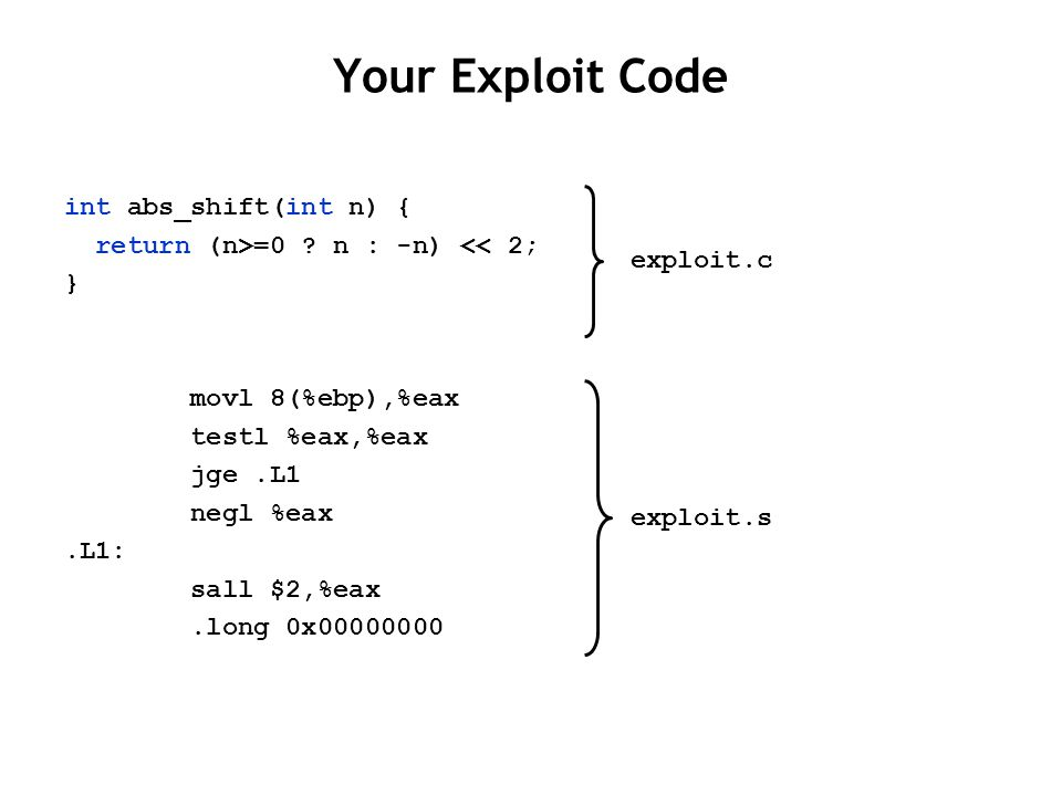 Your Exploit Code int abs_shift(int n) { return (n>=0 .