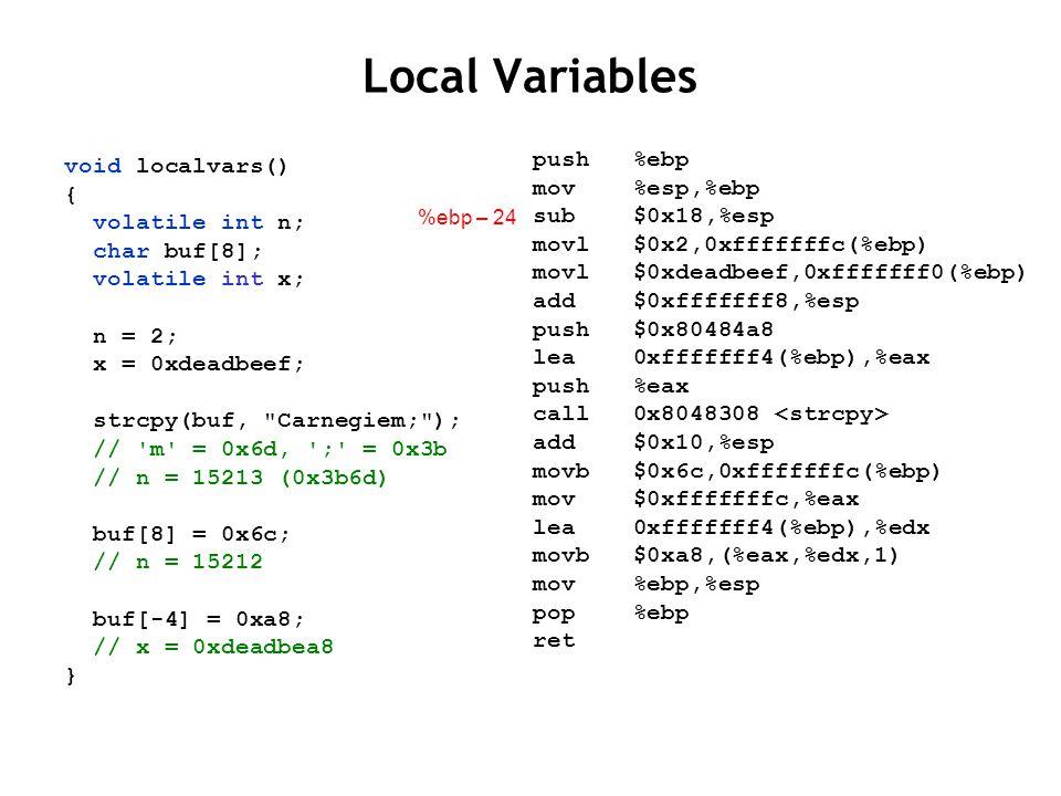 Local Variables void localvars() { volatile int n; char buf[8]; volatile int x; n = 2; x = 0xdeadbeef; strcpy(buf, Carnegiem; ); // m = 0x6d, ; = 0x3b // n = 15213 (0x3b6d) buf[8] = 0x6c; // n = 15212 buf[-4] = 0xa8; // x = 0xdeadbea8 } push %ebp mov %esp,%ebp sub $0x18,%esp movl $0x2,0xfffffffc(%ebp) movl $0xdeadbeef,0xfffffff0(%ebp) add $0xfffffff8,%esp push $0x80484a8 lea 0xfffffff4(%ebp),%eax push %eax call 0x8048308 add $0x10,%esp movb $0x6c,0xfffffffc(%ebp) mov $0xfffffffc,%eax lea 0xfffffff4(%ebp),%edx movb $0xa8,(%eax,%edx,1) mov %ebp,%esp pop %ebp ret %ebp – 4