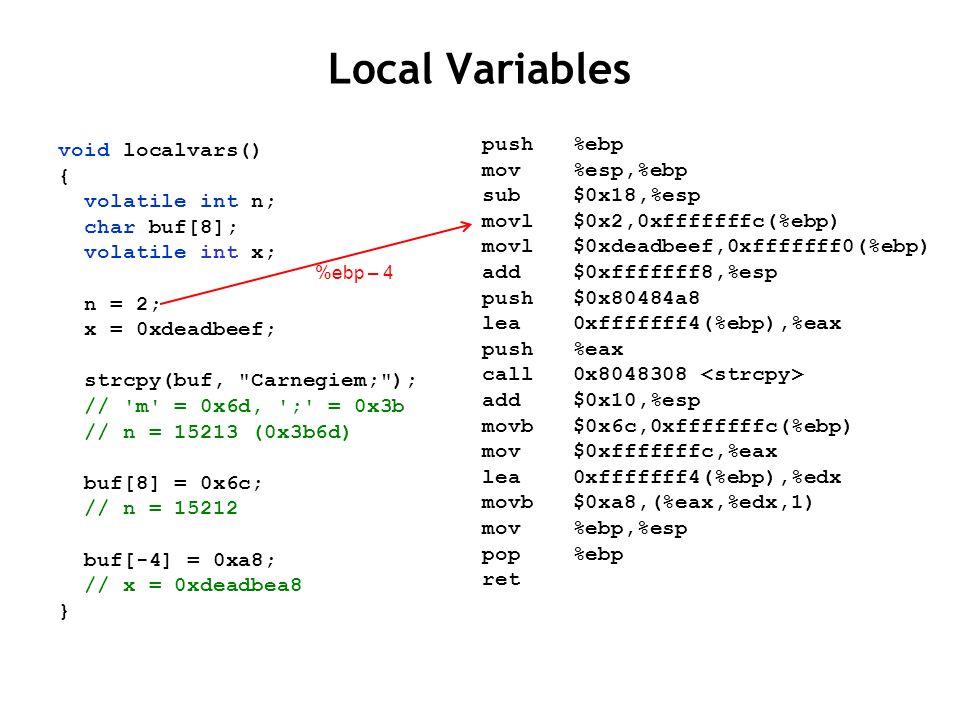 Local Variables void localvars() { volatile int n; char buf[8]; volatile int x; n = 2; x = 0xdeadbeef; strcpy(buf,