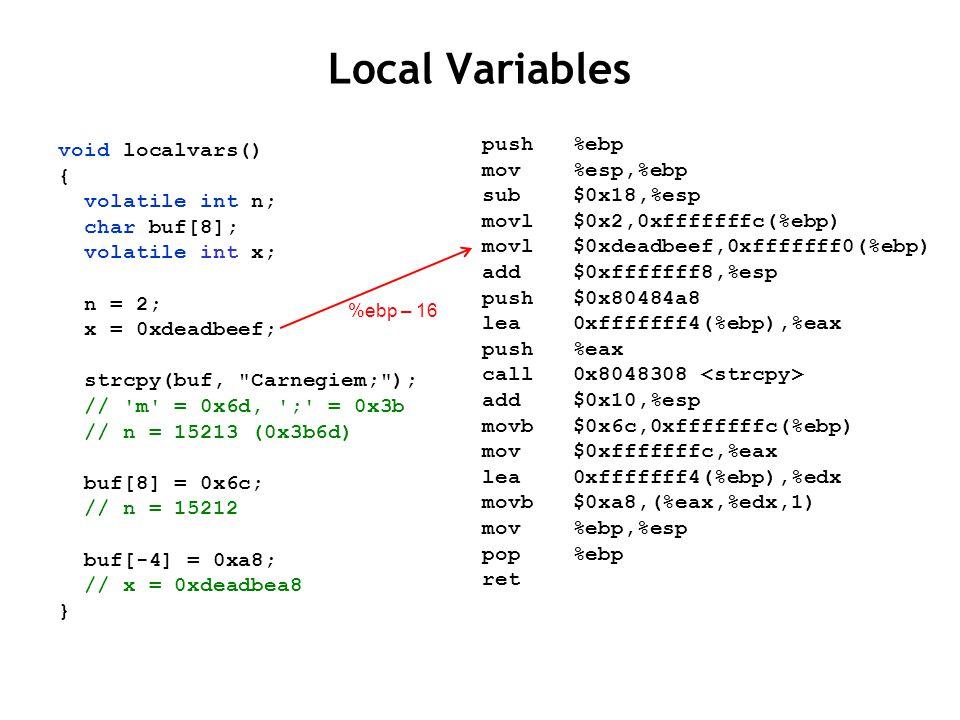 Local Variables void localvars() { volatile int n; char buf[8]; volatile int x; n = 2; x = 0xdeadbeef; strcpy(buf, Carnegiem; ); // m = 0x6d, ; = 0x3b // n = 15213 (0x3b6d) buf[8] = 0x6c; // n = 15212 buf[-4] = 0xa8; // x = 0xdeadbea8 } push %ebp mov %esp,%ebp sub $0x18,%esp movl $0x2,0xfffffffc(%ebp) movl $0xdeadbeef,0xfffffff0(%ebp) add $0xfffffff8,%esp push $0x80484a8 lea 0xfffffff4(%ebp),%eax push %eax call 0x8048308 add $0x10,%esp movb $0x6c,0xfffffffc(%ebp) mov $0xfffffffc,%eax lea 0xfffffff4(%ebp),%edx movb $0xa8,(%eax,%edx,1) mov %ebp,%esp pop %ebp ret %ebp – 16