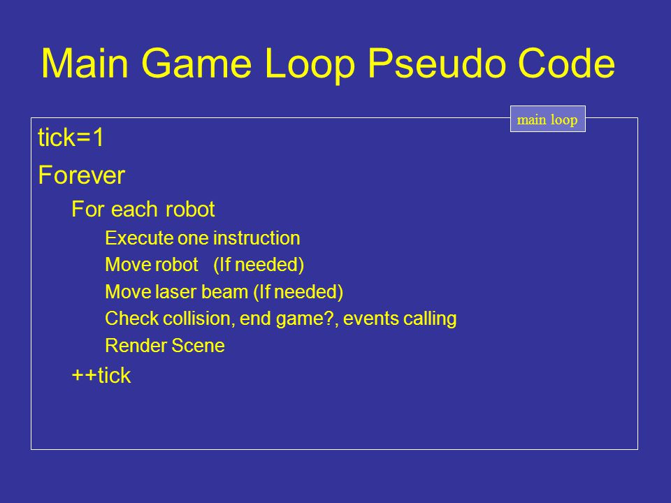Main Game Loop Pseudo Code tick=1 Forever For each robot Execute one instruction Move robot (If needed) Move laser beam (If needed) Check collision, e