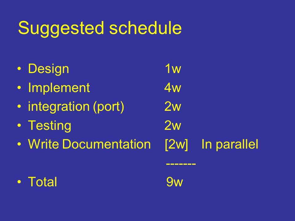 Suggested schedule Design 1w Implement4w integration (port)2w Testing 2w Write Documentation [2w] In parallel ------- Total 9w