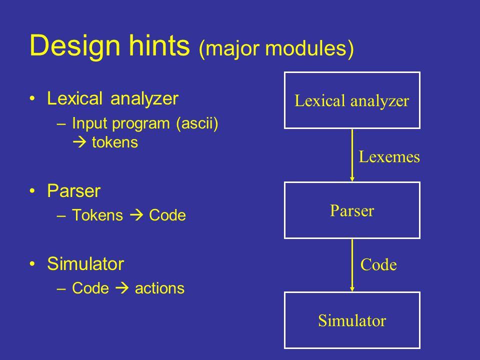 Design hints (major modules) Lexical analyzer Parser Simulator Lexical analyzer –Input program (ascii)  tokens Parser –Tokens  Code Simulator –Code  actions Lexemes Code