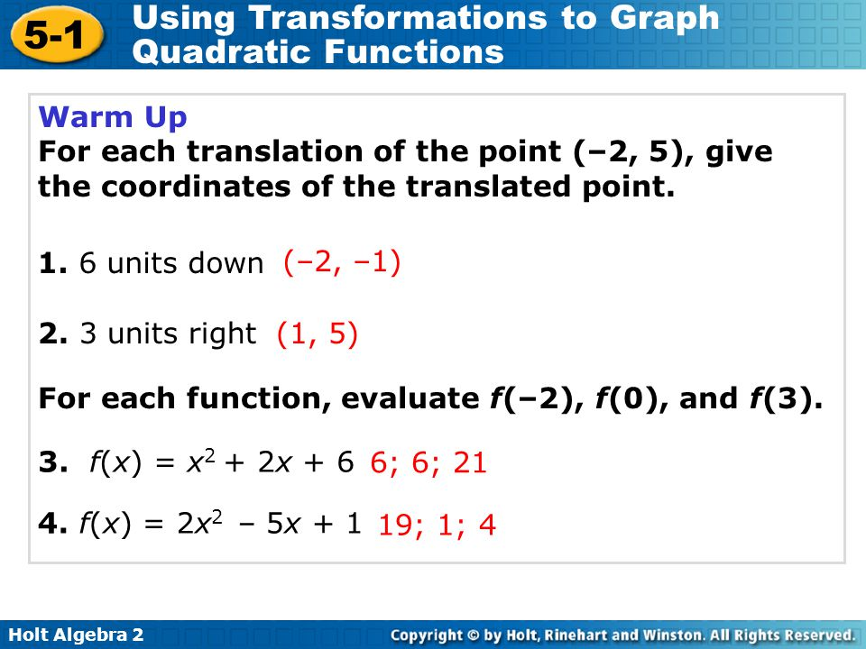 Holt Algebra 2 5-1 Using Transformations to Graph Quadratic Functions Transform quadratic functions.