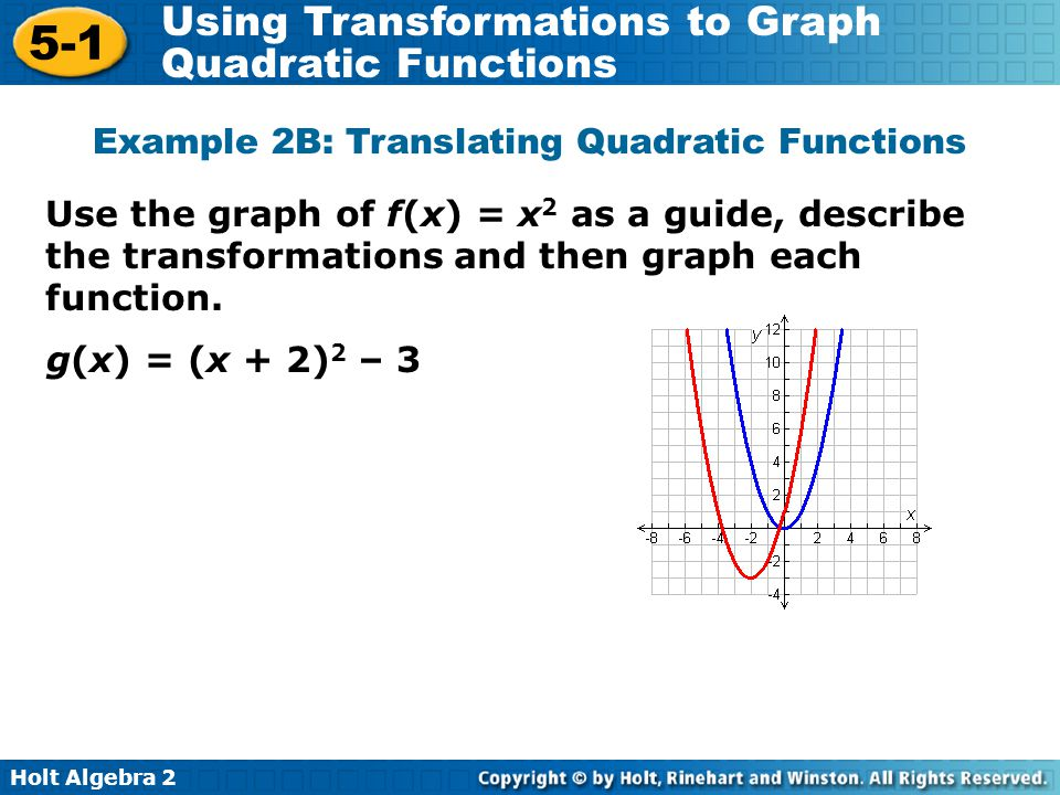 Holt Algebra 2 5-1 Using Transformations to Graph Quadratic Functions Use the graph of f(x) = x 2 as a guide, describe the transformations and then gr