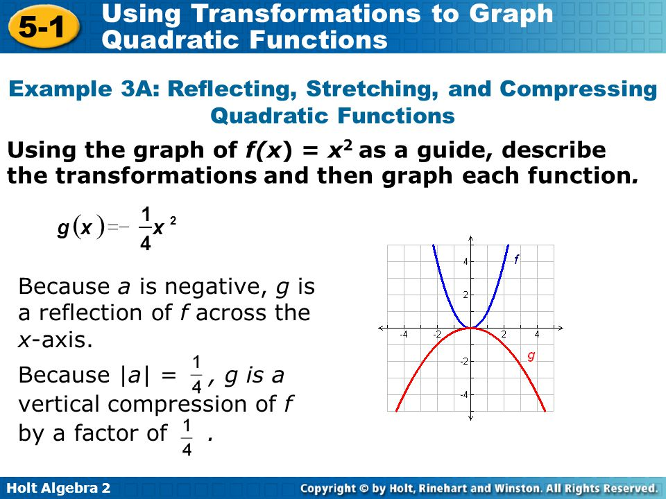 Holt Algebra 2 5-1 Using Transformations to Graph Quadratic Functions Using the graph of f(x) = x 2 as a guide, describe the transformations and then