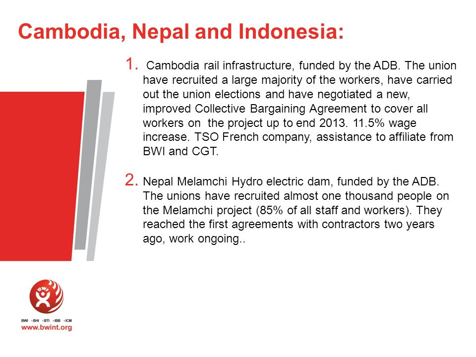 1. Cambodia rail infrastructure, funded by the ADB.