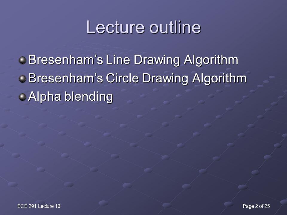 ECE 291 Lecture 16Page 2 of 25 Lecture outline Bresenham's Line Drawing Algorithm Bresenham's Circle Drawing Algorithm Alpha blending