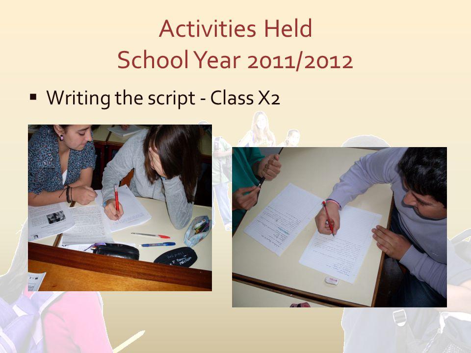  Writing the script - Class X2
