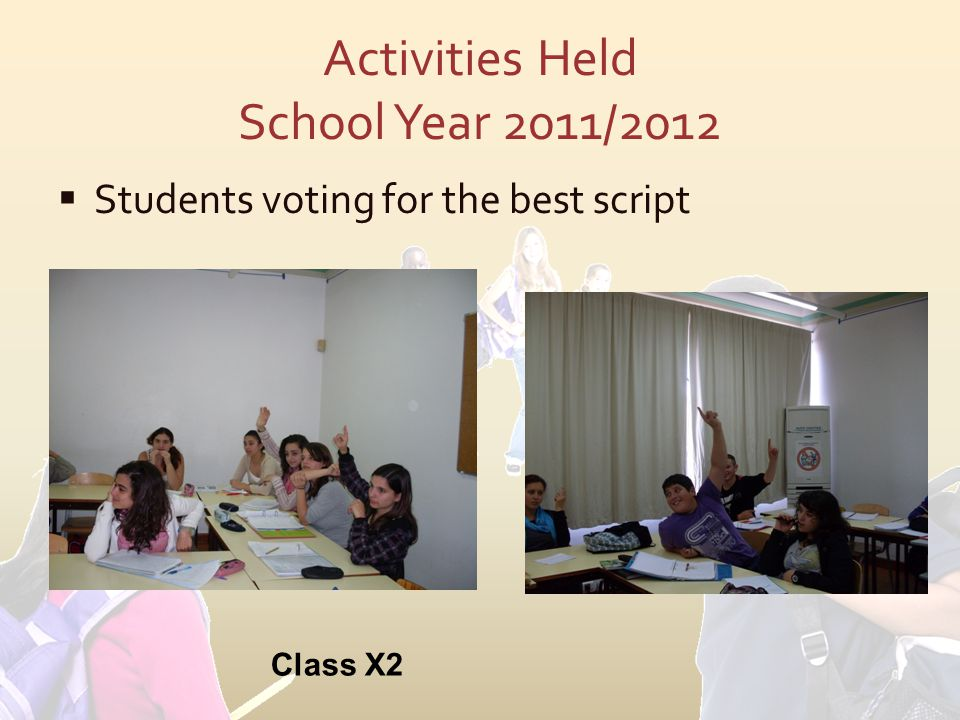 Activities Held School Year 2011/2012  Students voting for the best script Class X2