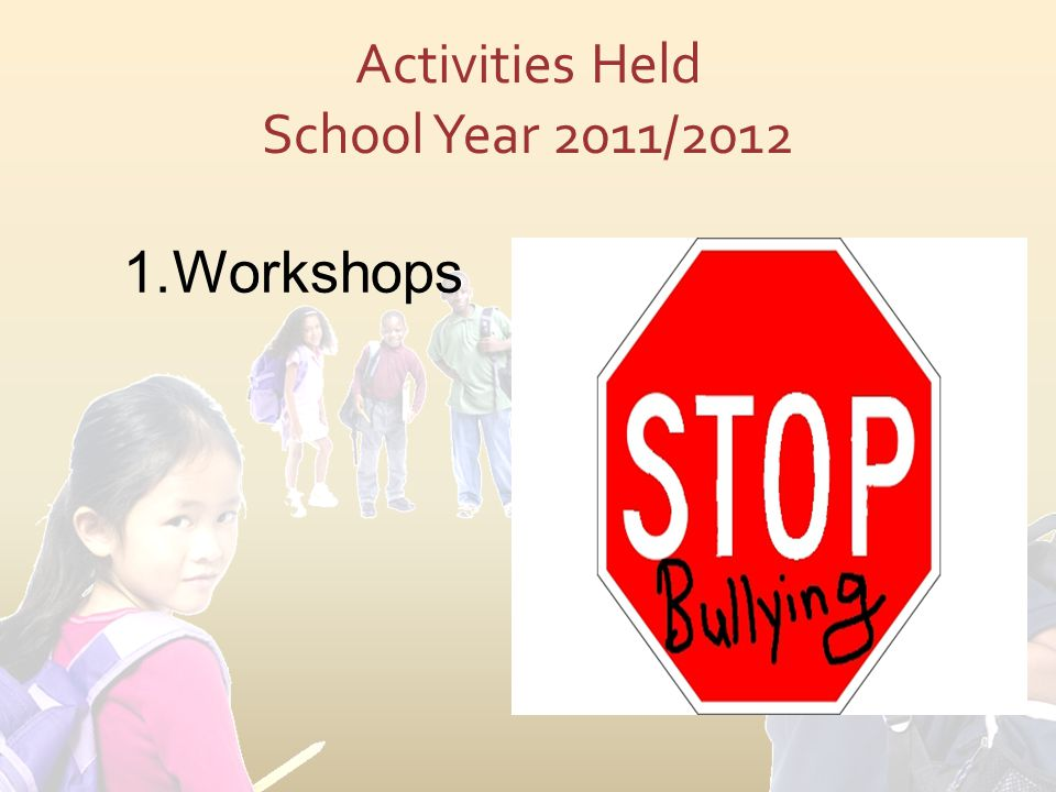 Activities Held School Year 2011/2012 1.Workshops
