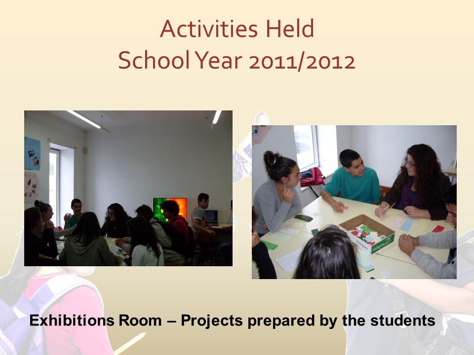 Activities Held School Year 2011/2012 Exhibitions Room – Projects prepared by the students