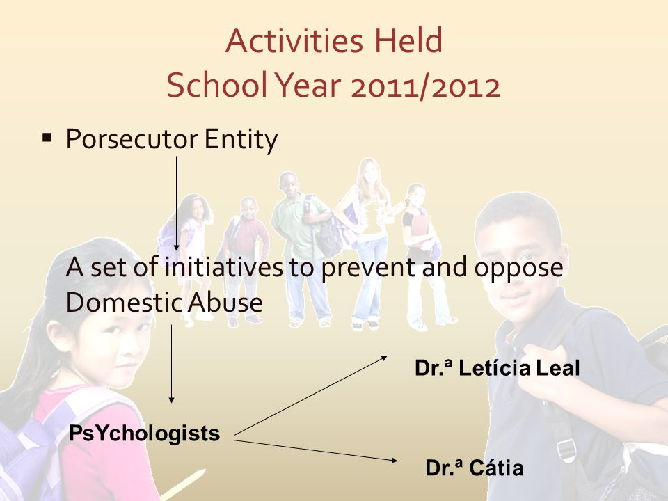 Activities Held School Year 2011/2012  Porsecutor Entity A set of initiatives to prevent and oppose Domestic Abuse PsYchologists Dr.ª Letícia Leal Dr.ª Cátia