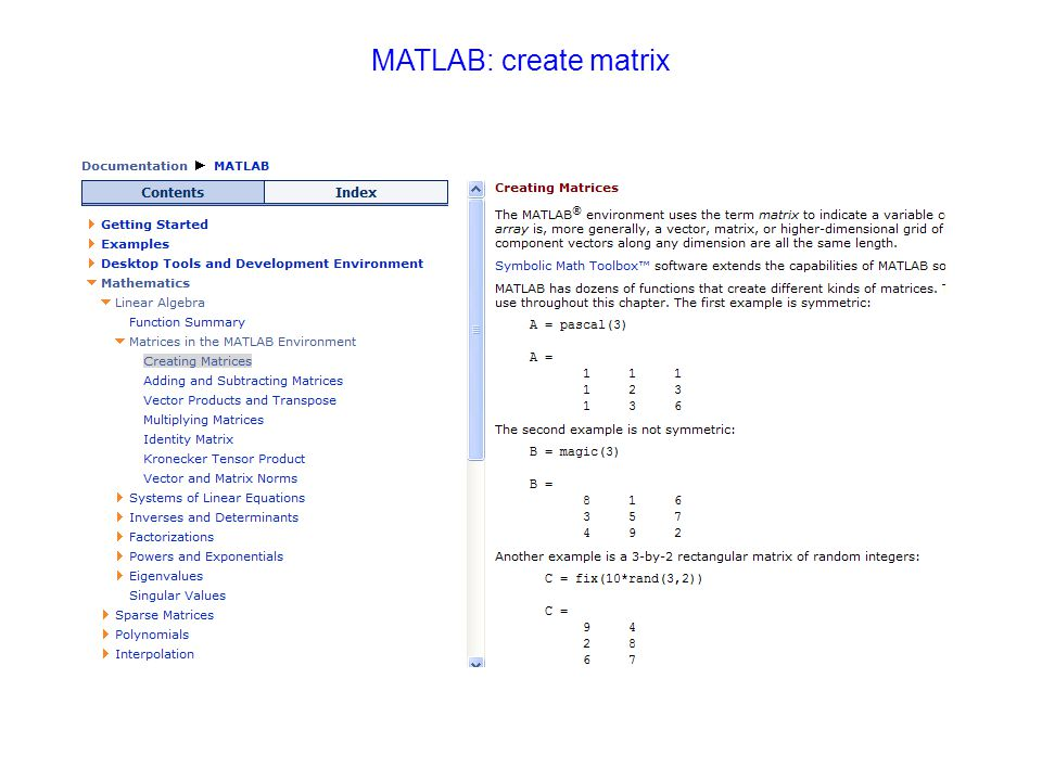 MATLAB: create matrix