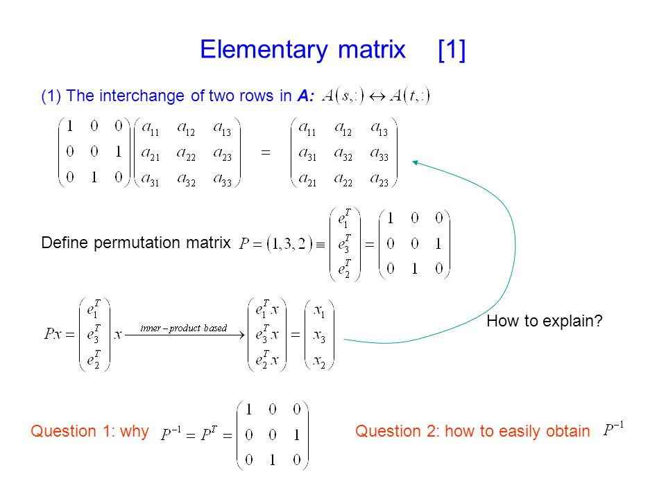 Elementary matrix [1] (1) The interchange of two rows in A: Define permutation matrix Question 1: whyQuestion 2: how to easily obtain How to explain?