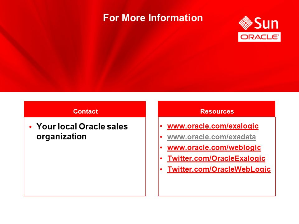 For More Information Contact Resources Your local Oracle sales organization www.oracle.com/exalogic www.oracle.com/exadata www.oracle.com/weblogic Twitter.com/OracleExalogic Twitter.com/OracleWebLogic