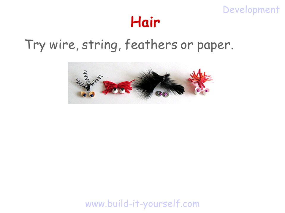 www.build-it-yourself.com Hair Try wire, string, feathers or paper. Development