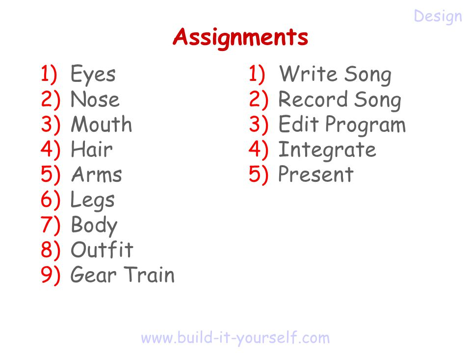www.build-it-yourself.com Assignments 1) Eyes 2) Nose 3) Mouth 4) Hair 5) Arms 6) Legs 7) Body 8) Outfit 9) Gear Train Design 1) Write Song 2) Record Song 3) Edit Program 4) Integrate 5) Present