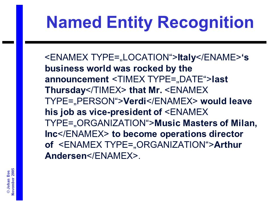 © Johan Bos November 2005 Named Entity Recognition Italy 's business world was rocked by the announcement last Thursday that Mr.