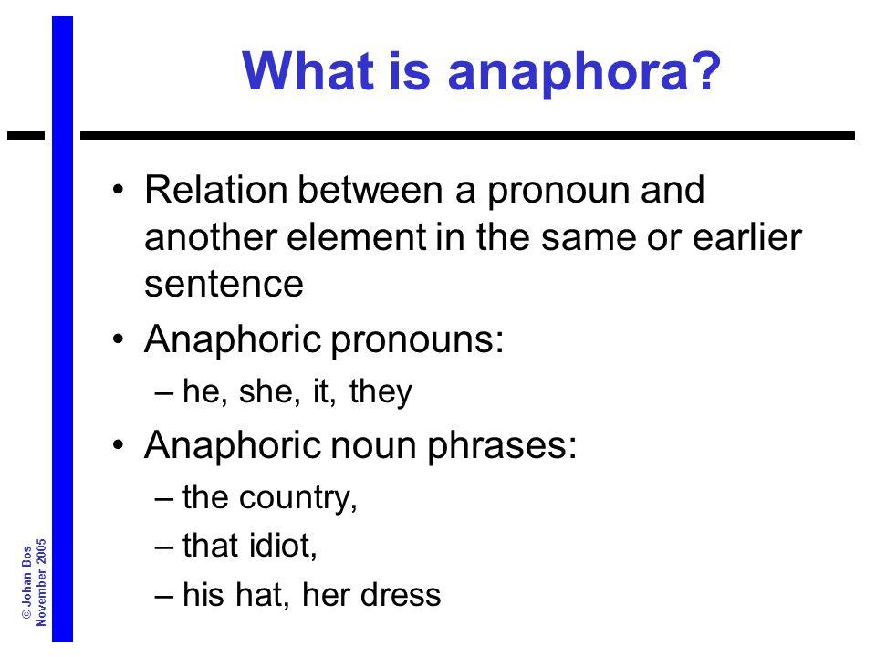 © Johan Bos November 2005 What is anaphora.