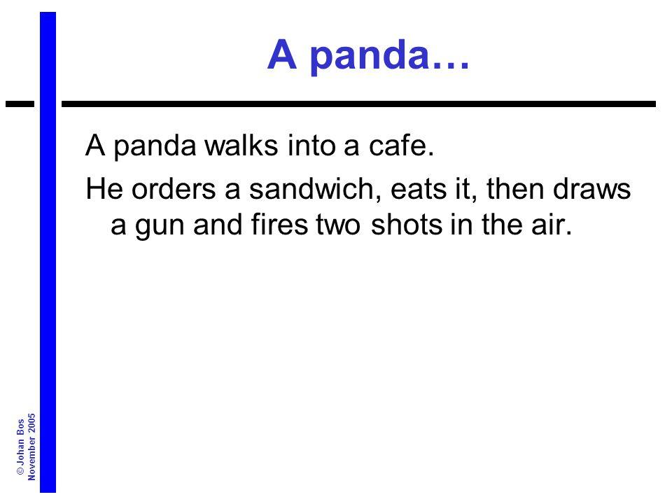 © Johan Bos November 2005 A panda… A panda walks into a cafe.