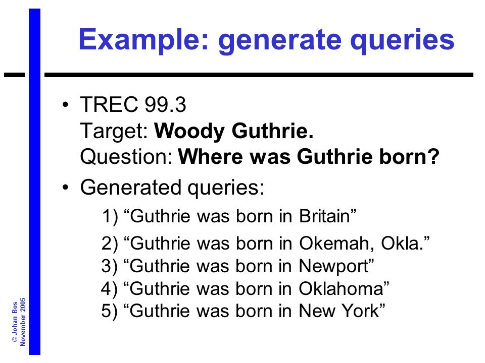 © Johan Bos November 2005 Example: generate queries TREC 99.3 Target: Woody Guthrie.