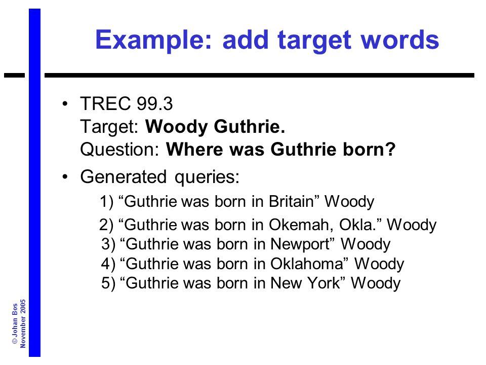 © Johan Bos November 2005 Example: add target words TREC 99.3 Target: Woody Guthrie.