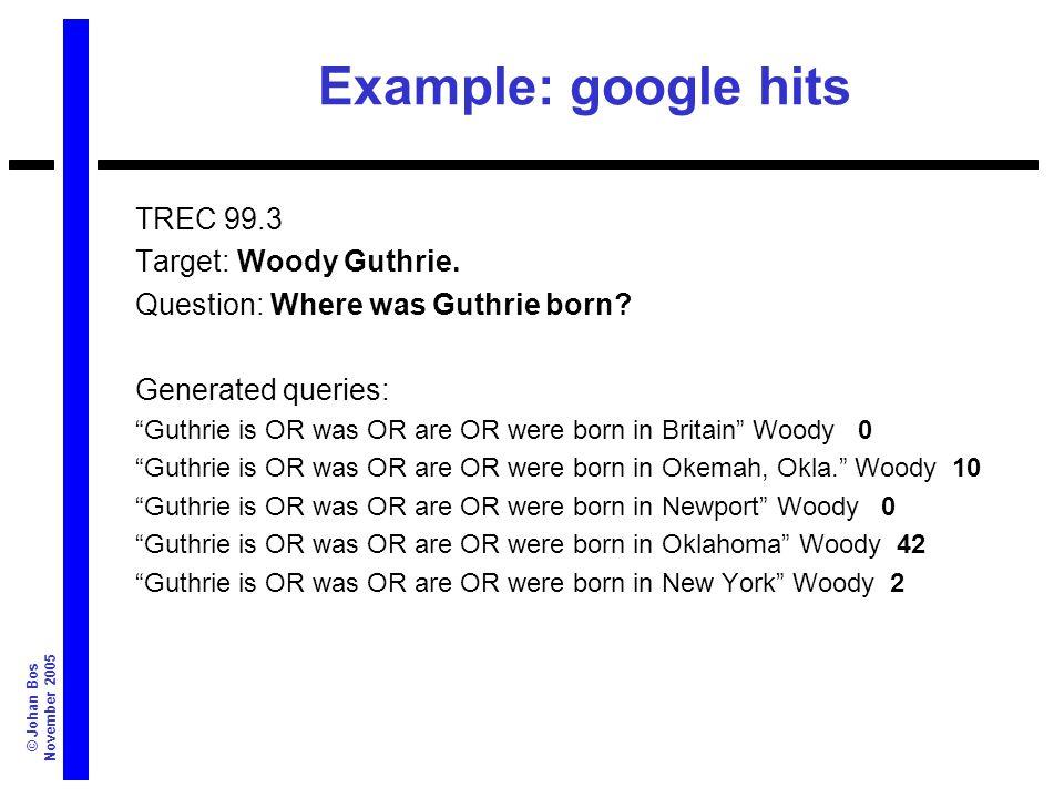 © Johan Bos November 2005 Example: google hits TREC 99.3 Target: Woody Guthrie.