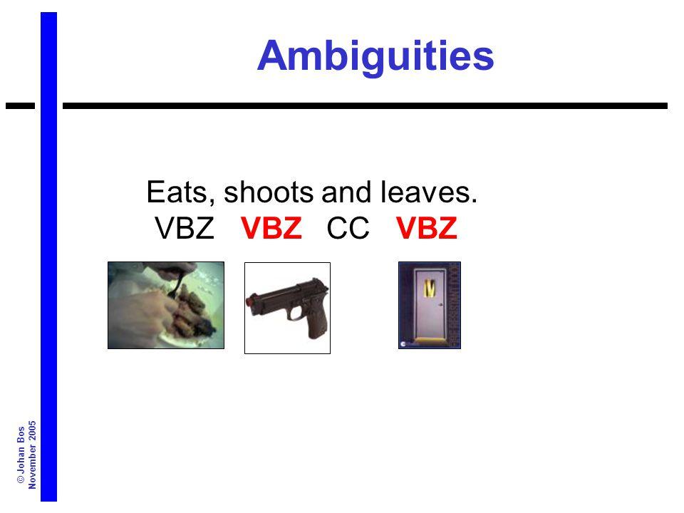 © Johan Bos November 2005 Ambiguities Eats, shoots and leaves. VBZ VBZ CC VBZ