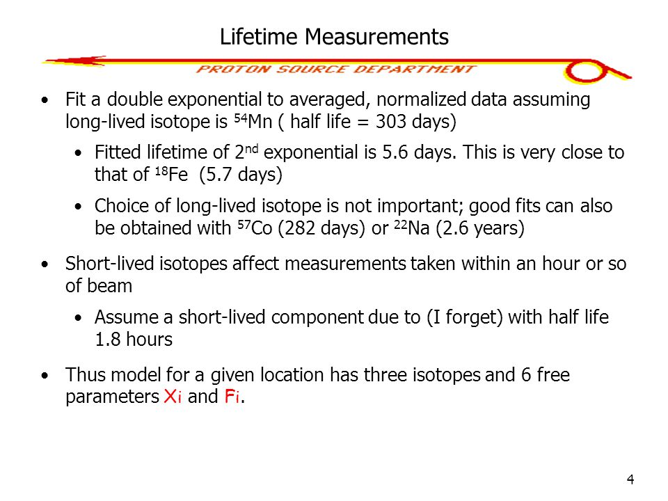 4 Lifetime Measurements Fit a double exponential to averaged, normalized data assuming long-lived isotope is 54 Mn ( half life = 303 days) Fitted life