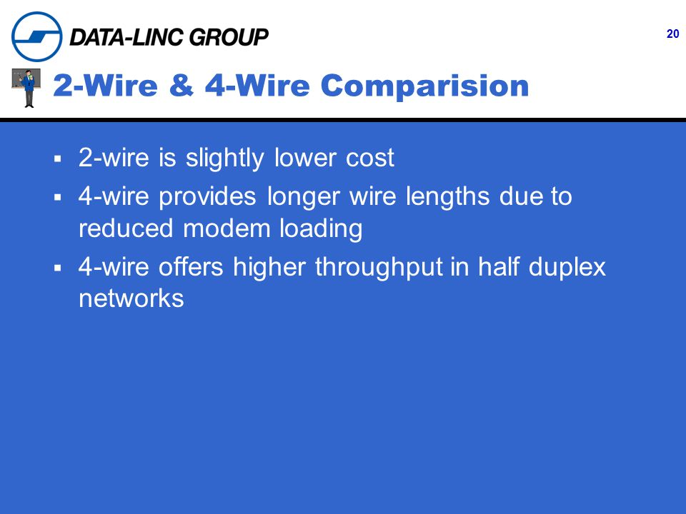 20 2-Wire & 4-Wire Comparision  2-wire is slightly lower cost  4-wire provides longer wire lengths due to reduced modem loading  4-wire offers higher throughput in half duplex networks