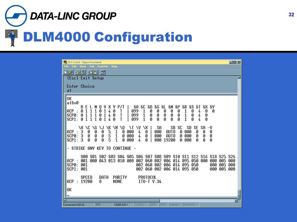 32 DLM4000 Configuration