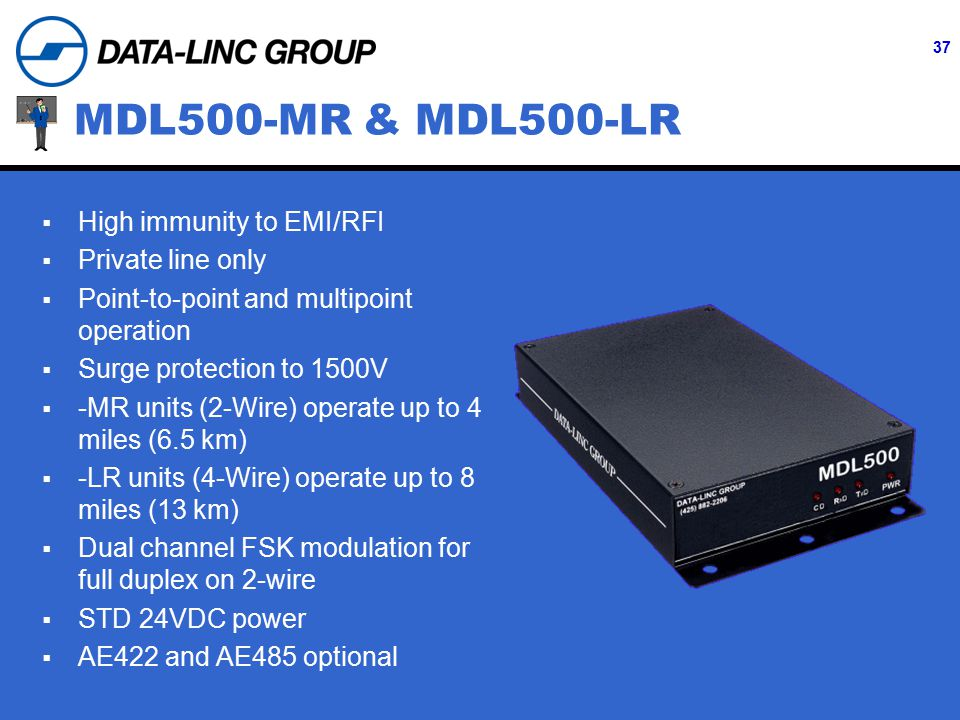37 MDL500-MR & MDL500-LR  High immunity to EMI/RFI  Private line only  Point-to-point and multipoint operation  Surge protection to 1500V  -MR units (2-Wire) operate up to 4 miles (6.5 km)  -LR units (4-Wire) operate up to 8 miles (13 km)  Dual channel FSK modulation for full duplex on 2-wire  STD 24VDC power  AE422 and AE485 optional