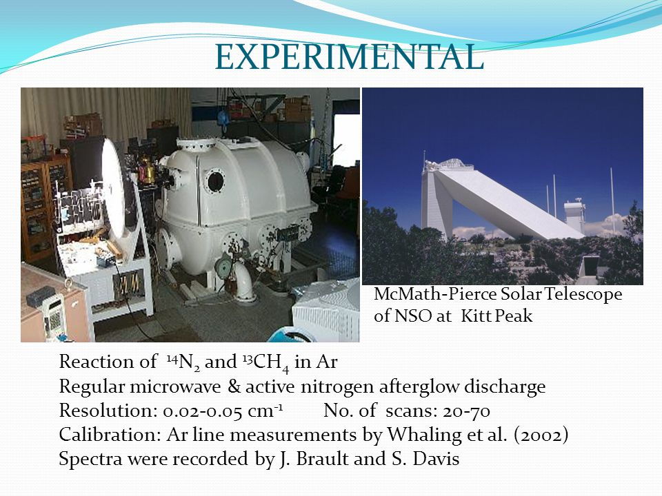 EXPERIMENTAL McMath-Pierce Solar Telescope of NSO at Kitt Peak Reaction of 14 N 2 and 13 CH 4 in Ar Regular microwave & active nitrogen afterglow discharge Resolution: 0.02-0.05 cm -1 No.