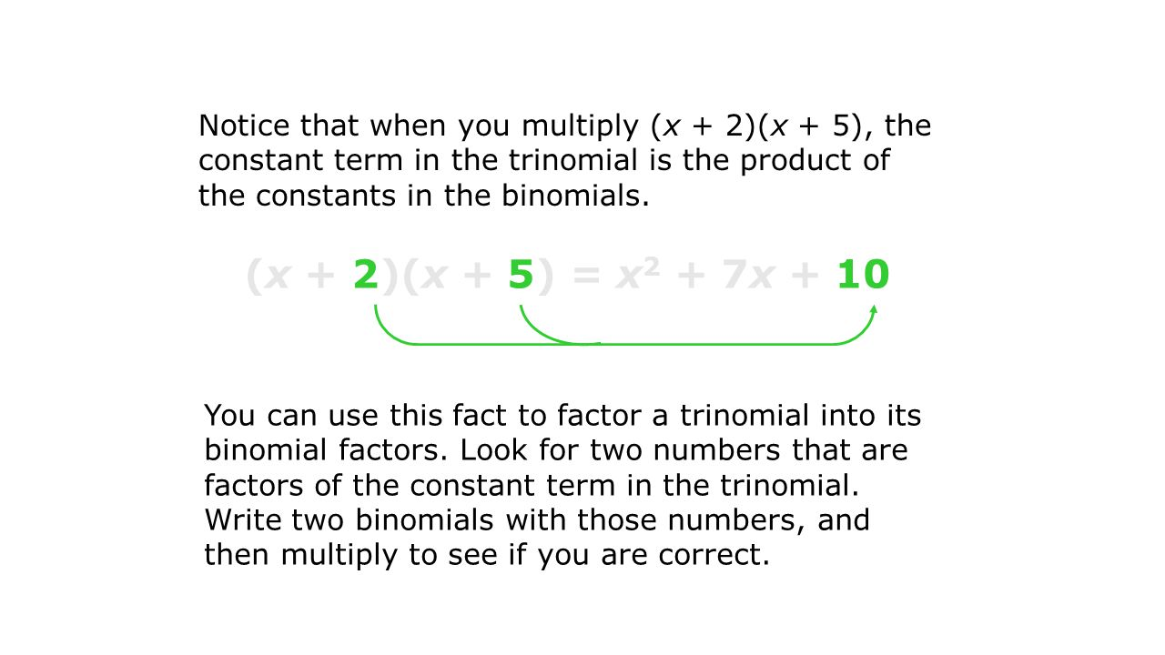 Example 1A: Factoring Trinomials by Guess and Check Factor x 2 + 15x + 36 by guess and check.