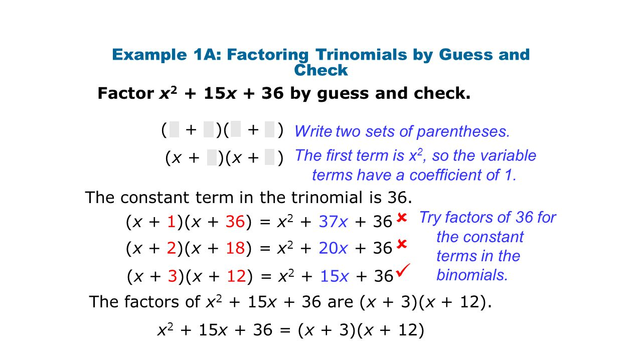 When you multiply two binomials, multiply: First terms Outer terms Inner terms Last terms Remember!