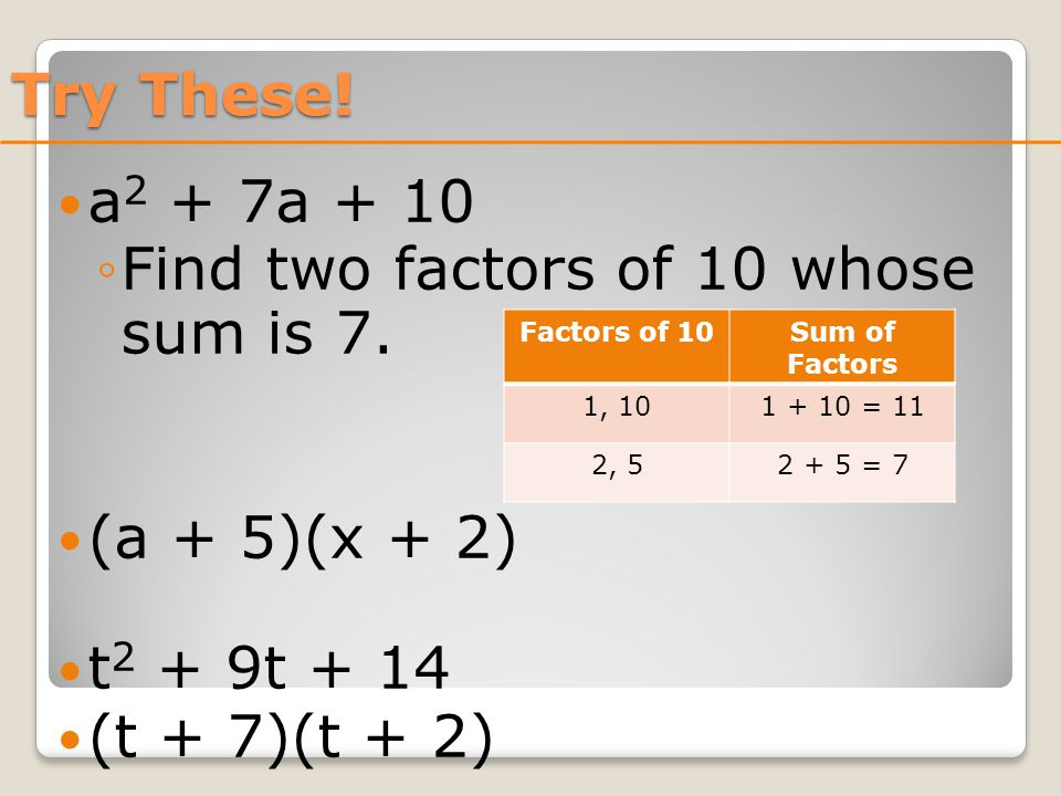 Try These. a 2 + 7a + 10 ◦Find two factors of 10 whose sum is 7.