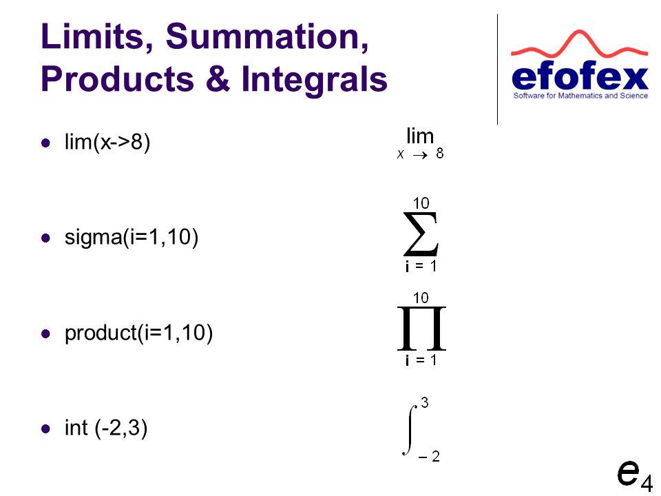 Limits, Summation, Products & Integrals lim(x->8) sigma(i=1,10) product(i=1,10) int (-2,3)