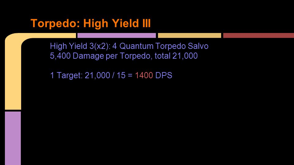 High Yield 3(x2): 4 Quantum Torpedo Salvo 5,400 Damage per Torpedo, total 21,000 1 Target: 21,000 / 15 = 1400 DPS Torpedo: High Yield III