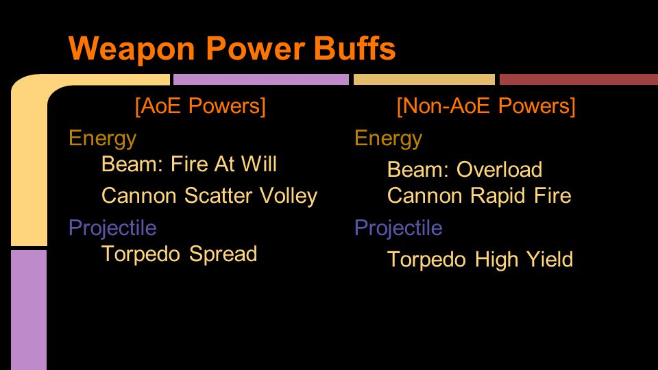 [AoE Powers] Energy Beam: Fire At Will Cannon Scatter Volley Projectile Torpedo Spread [Non-AoE Powers] Energy Beam: Overload Cannon Rapid Fire Projectile Torpedo High Yield Weapon Power Buffs